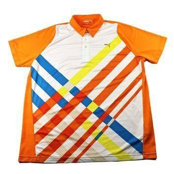 Puma Sport Lifestyle Orange Polo Shirt Mens Size Large