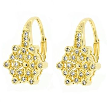 Gold Layered 02.195.0057 Leverback Earring, Flower Design, with White Micro Pave, Polished Finish, Golden Tone