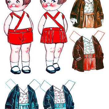 Dingle girl boy paper doll clothes set clip art collage sheet digital graphics childrens craft printables