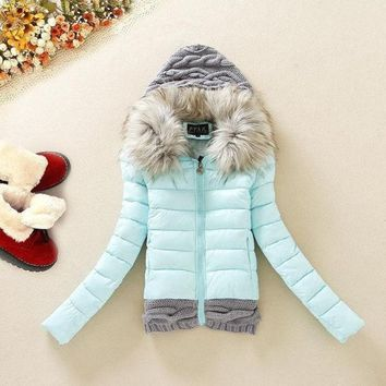 2015 Winter New Knitting Hooded Down Jacket Fur Collar Slim Down Cotton Padded Coat Black/blue/yellow/red = 1929725124
