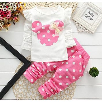 Infant Toddler Minnie Theme Girls Polka Dot Shirt and Pant Set