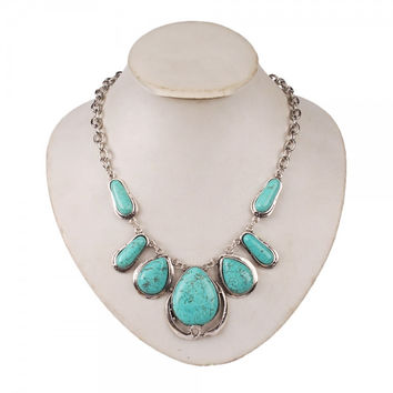 Bohemian Style Oval Turquoise Pendant Necklace