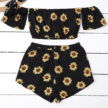 AZULINA Casual 2 Two Piece Set Women Sunflower Print Summer Off the Shoulder Crop Top Shorts Zipper 2017 Beachwear Women Set