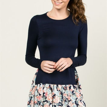 Floral Skirted Navy Tunic