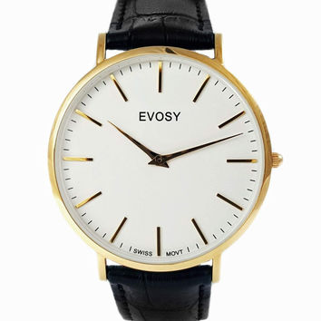 Classic Slim Gold Watch with Black Leather Strap – EVOSY