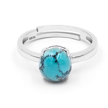 Round Turquoise & Sterling Silver Ring