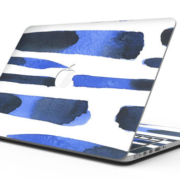 Watercolor Strokes of Blue on Black - MacBook Pro with Retina Display Full-Coverage Skin Kit