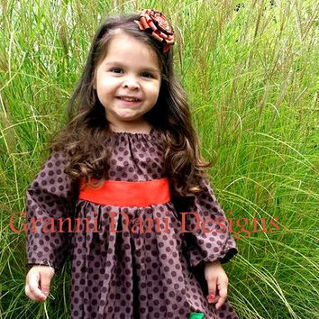 Fall autumn pumpkin applique brown polka dot peasant dress orange baby toddler girl halloween  12 18 24 months 2t 3t 4t 5t