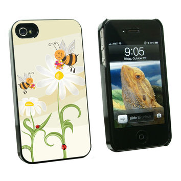 Bumble Bees and Ladybugs on Daisies - Flowers iPhone 4-4S Case