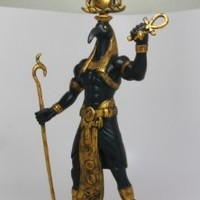 """EGYPTIAN IBIS HEADED THOTH HOLDING WAS AND ANKH 12"""" STATUE MAGIC TECHNOLOGY"""