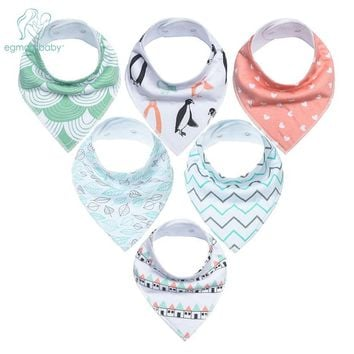 6Pcs Baby Bandana Drool Bibs Super Absorbent 100% Organic Cotton for Drooling Teething and Feeding, Perfect Baby Shower Gift Set