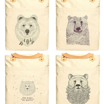 Bears In Hand Draw Style Print 100% Cotton Canvas Leather Straps Backpack WAS_34