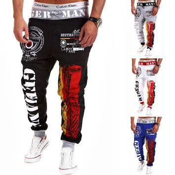 Casual Pants Men Stylish Print Alphabet Sportswear [6542520835]