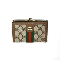 Vintage GUCCI Wallet Brown Monogram Leather Web Clutch Coin Purse -AUTHENTIC-