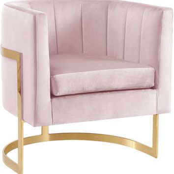 Carter Pink Velvet Accent Chair