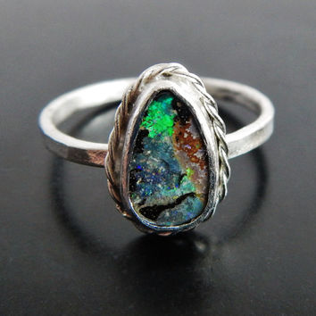 Pear Shaped Boulder Opal and Sterling Silver Stacking Ring, Australian Opal Ring, Natural Opal, Ring Size 6.5, Artisan Ring, Gift for Her