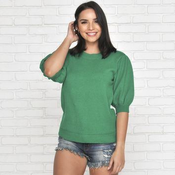 When She Smiles Green Sweater
