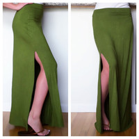 Green Maxi Skirt with Side Slit by SarahLMeyers on Etsy