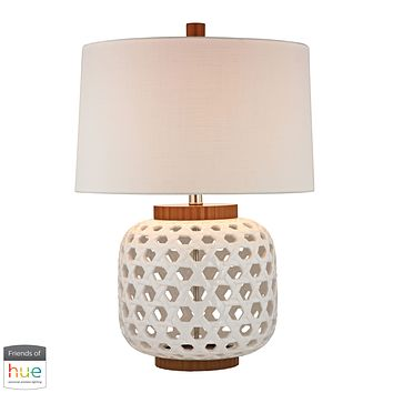 Woven Ceramic Table Lamp in White and Wood Tone - with Philips Hue LED Bulb/Bridge