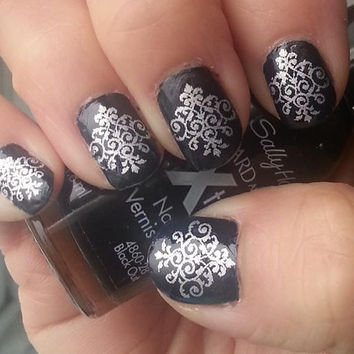 Free Shipping - 60 Silver Lace DAMASK Nail Art MEGAPACK (DMS) Waterslide Transfer Decals - Not Stickers or Vinyl