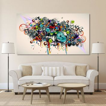 HDARTISAN Graffiti Canvas Art Blossomed Flowers Painting Modern Wall Pictures For Living Room Home Decor Printed No Frame