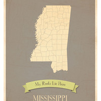 Mississippi State Map Customize with Heart Stickers