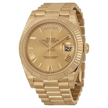Rolex Day-Date 40 Champagne Dial 18K Yellow Gold Automatic Mens Watch 228238CRSP