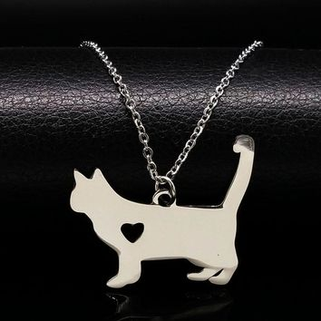 Stainless Steel Tiny Cat Pendant Necklace Women  Charm cat necklaces & pendants neckless jewelry gatos collares N72220BKawaii Pokemon go  AT_89_9