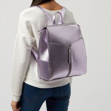 Lilac Metallic Zip Front Backpack