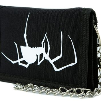 Spooky Crawling Black Widow Spider Tri-fold Wallet Gothic Style Alternative Clothing