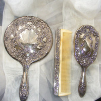 Sterling Silver Plated Vanity Set