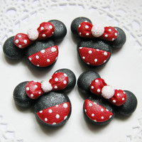 Minnie Mouse Charms Polymer Clay, Clay Bow Centers, Clay Pendants, Clay Magnets, Scrapbook Brads,