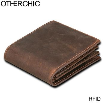 OTHERCHIC Rfid Blocking Short Wallets Men Genuine Leather Purse Card Vintage Crazy Horse Men Wallet Male Money Clip L-7N07-19