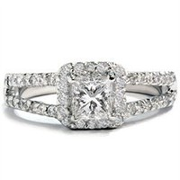 SI 1.01ct Princess Cut Diamond Engagement Ring Pave Halo Vintage White Gold