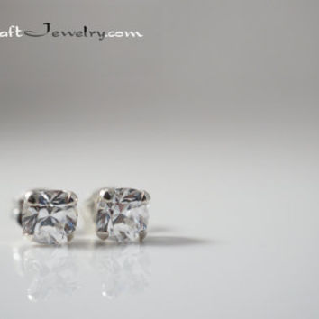 Cushion Cut CZ Earrings 1/2 Carat each - 1ctw Cubic Zirconia Diamond Simulant Sterling Silver Studs