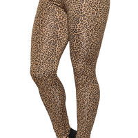 Brown Leopard Print Leggings Design 423