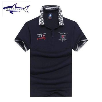 Polo Shirt Mens Cotton Solid Color Mens Casual Polo Shirt Slim Fit Business Chemise Polo Shark