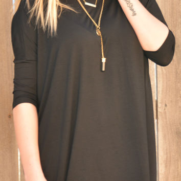 Piko 3/4 Length Sleeve Piko Top - Black