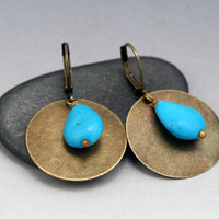 Turquoise Dangle Earrings - Antiqued Brass Disc Earrings