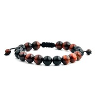 Men's Red Tiger Eye and Black Onyx Polished Natural Healing Stone Bead Adjustable Bracelet - 8 inches (10mm Wide) | Overstock.com Shopping - The Best Deals on Men's Bracelets