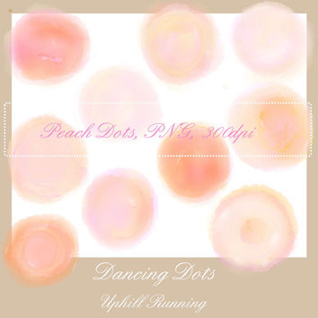 Watercolor clipart dots, 10 different shades of peach, scrapbooking clipart, PNG + JPG, Instant Download