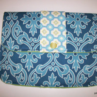Summer Sky Blue Damask Clutch Charmante Padded Tablet Cover