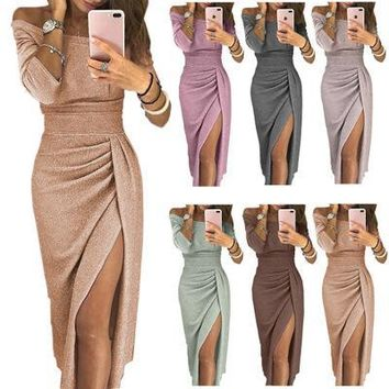 Women One-shoulder Dress Sexy Autumn Long-sleeved Bodycon Dress Wrapped Hips Split Sparkling Evening Party Dresses Plus Size Clothing S-3XL