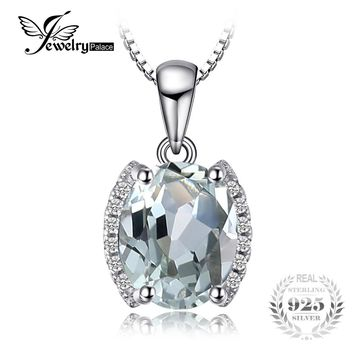 JewelryPalace Oval 1.83 ct Green Amethyst Natural stone Pendant Necklace 100% 925 Sterling Silver 45cm Box Chain Vintage Jewelry
