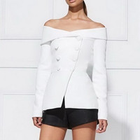 Autumn Fashion Double Beasted Buttons Slim ladies Blazers Sexy Slash Neck Off Shoulder Blazer femme Elegant Suit Coat Woman
