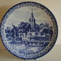 DELFT BLAUW /Delfts blue/ collectors plate/ charger display plate /De Lente Springtime/ 1965 made in Holland / ships worldwide from UK