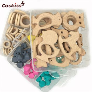 "3 Boxed Wooden Animal Mixed Color 0.67""(17mm) Geometric Hexagon Silicone And Baby Wooden Rings For DIY Baby Teether Accessories"