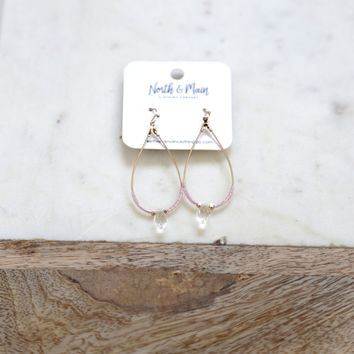 Lucilia Earrings, Gold/Pink