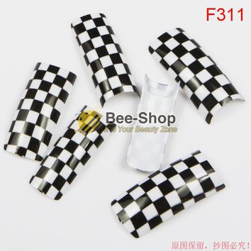 100pcs False Nail Art Painting Black White Square Patterns Work Acrylic Fake Nail Tip Acrylic Half Cover Nail Tips BF311