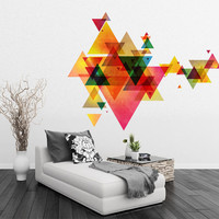Triangle Decal Geometric Vinyl Decal Wall Art Mid Century Modern Decor - Modernist Eames Abstract